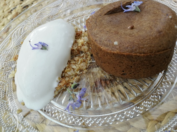 Carob coulant with rosemary ice cream
